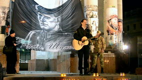 Gedächtnistag von Roman Shukhevych-Sitzung - Kommandant - herein - Leiter von UPA, Kiew, Ukraine, stock footage