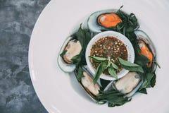 Gedämpfte asiatische grüne Miesmuschel mit Basilikum Stockfoto