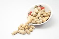 Gedämpfte Erdnüsse knackten Oberteil, thailändischen lokalen Snack Lizenzfreies Stockfoto