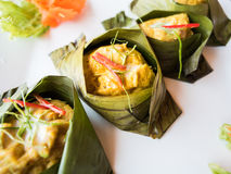 Gedämpfte Fische mit Currypaste stockfotos