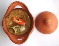 Gedämpfte Fische mit Currypaste im Tongefäß Lizenzfreies Stockbild