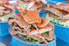 Gedämpfte Krabbe auf der Platte Stockfotografie
