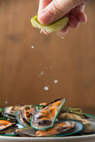 Gedämpfte Miesmuscheln mit würzigen Meeresfrüchtedipbestandteilen Stockfotos