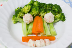Gedämpfter Brokkoli und Karotte Lizenzfreies Stockbild