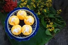 Gedämpfter Kürbis-Kuchen-thailändischer Nachtisch - Zapfen Kanom Fak Lizenzfreie Stockbilder