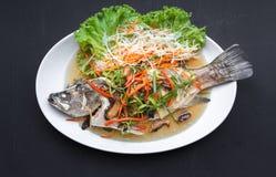 Gedämpfter Rotbarsch mit thailändischen Nahrungsmitteln der Sojasoße Lizenzfreie Stockfotografie