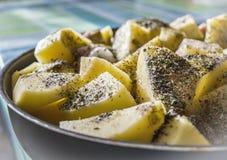Gedämpftes, gekochtes Huhn mit Kartoffeln bereitete sich für das Mittagessen oder dinne vor lizenzfreies stockfoto