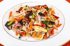Gedämpftes Gemüse mit Pilze mun, Sojabohnensprösslingen und Bambus Stockbild