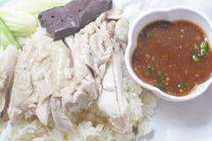 Gedämpftes Huhn über Reis stockfotografie