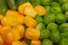 Gedämpftes organisches Gemüse-Medly mit Erbsen, Mais und Bohnen Stockfotografie