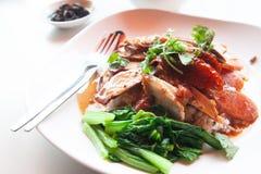 Gedämpftes Schweinefleisch, Grillschweinefleisch und gebratene Ente mit dem Reis, chinesisch-t lizenzfreie stockfotografie
