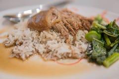 Gedämpftes Schweinefleischbein auf Reis mit Knoblauch und Kohl in der Draufsicht stockfotografie