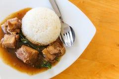 Gedünsteter Schweinefleisch-Reis Lizenzfreie Stockbilder