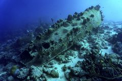 Gedaald schip met koraal Stock Foto's