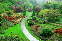 Gedaalde tuin   Stock Afbeeldingen