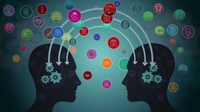 Gedachten die in hersenen aan radertjes verbinden stock illustratie