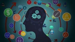 Gedachten die in hersenen met radertjes verschijnen vector illustratie