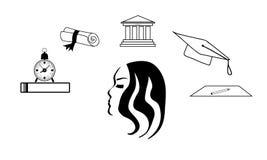 Gedachtenstudent Studente die over het bestuderen denken Onderzoeken en de Universiteit Stock Afbeeldingen