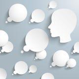 Gedanke sprudelt menschlicher Kopf Infographic Stockbild