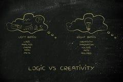 Gedanke sprudelt mit der Statistik gegen intuitive Idee, Logik gegen Kreatin Lizenzfreie Stockfotografie