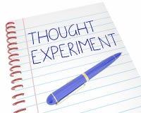 Gedanken-Experiment-Übungs-Prozess Pen Notebook Words 3d Illust Stockbilder