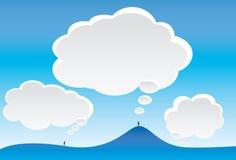 Gedanken-Wolken und Himmel Stockbilder