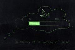 Gedankenblase mit Blättern und Fortschritt halten Laden, Ökologieminute ab stock abbildung