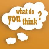 Gedankenblase mit, was Sie denken Stockbild