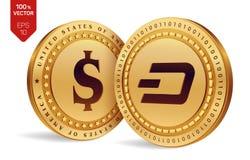 gedankenstrich Schöne vektorabbildung isometrische körperliche Münzen 3D Digital-Währung Cryptocurrency Goldene Münzen mit Schlag Lizenzfreies Stockbild