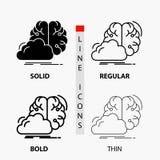 Gedanklich lösen, kreativ, Idee, Innovation, Inspiration Ikone in der dünnen, regelmäßigen, mutigen Linie und in der Glyph-Art Au stock abbildung