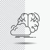 Gedanklich lösen, kreativ, Idee, Innovation, Inspiration Linie Ikone auf transparentem Hintergrund Schwarze Ikonenvektorillustrat lizenzfreie abbildung