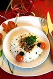 Gedeelte sojaballen met groenten en rijst Stock Afbeelding