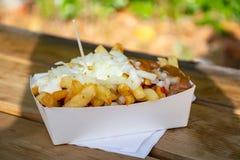 Gedeelte verse gebraden de aardappelsstokken van België met inion, ketsh stock afbeelding