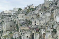 Gedeeltelijke mening van het oude deel van Matera, Italië Stock Afbeeldingen