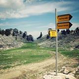 GEDELME-TAHTALI DAGI, TURKEY - MAY 4, 2015: Sign on the Lycian Way. Stock Photos