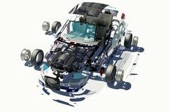 Gedemonteerde auto. Royalty-vrije Stock Afbeelding