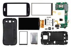 Gedemonteerde die smartphone op witte achtergrond wordt geïsoleerd Stock Afbeeldingen
