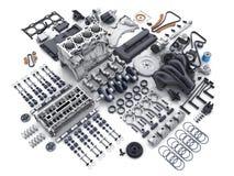 Gedemonteerde motor van een auto Vele delen vector illustratie
