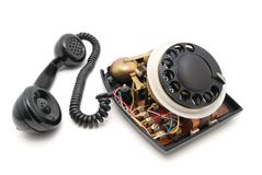 Gedemonteerde zwarte telefoon Stock Fotografie