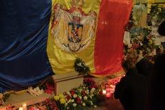 Gedenken von König Mihai bei Royal Palace in Bukarest, Rumänien stockbilder