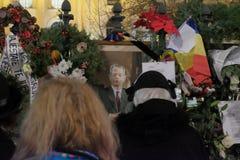 Gedenken von König Mihai bei Royal Palace in Bukarest, Rumänien stockbild