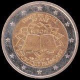 Gedenkmünze des Euros zwei gab durch Frankreich im Jahre 2007 für den Jahrestag des Vertrags von Rom heraus Lizenzfreie Stockfotografie