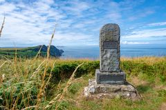 Gedenkteken aan de dichter Dewi Emrys in Pwll Deri, Wales royalty-vrije stock afbeeldingen