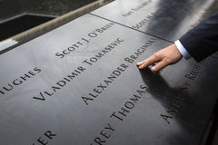 Gedenkteken bij World Trade Centergrond Nul Stock Foto