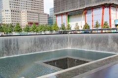 9/11 Gedenkteken New York Fontein geëerd Stock Fotografie