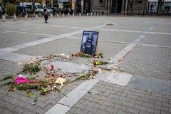Gedenkteken van moorde Bulgaarse vrouwelijke journalist royalty-vrije stock foto