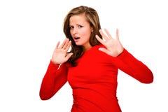 Gedeprimeerde jonge die vrouw op witte achtergrond wordt geïsoleerdg Stock Fotografie