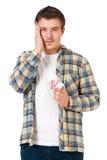 Gedeprimeerde jonge mens Stock Foto