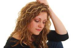 Gedeprimeerde vrouw Stock Foto