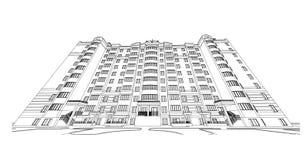 Gedetailleerd architecturaal plan van de bouw met meerdere verdiepingen met verminderend perspectief Vectorblauwdruk royalty-vrije illustratie